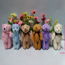 Wholesale Plush Wedding Bear - Wholesale- 50PCS lot, Joint Teddy Bear Plush Toy Doll 11CM Small Wedding Gift ; Key Chain TOY DOLL, 6 colors to choose or colors mixed