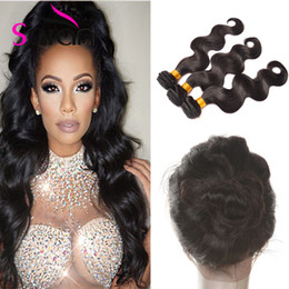 Wholesale Malasian Virgin - 22x4x2 360 Lace Frontal Closures Body Wave Ear To Ear Lace Frontal With Baby Hair Brazilian Peruvian Malasian Indian Virgin Human Hair