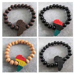 silbernes rotes korallenarmband tibet Rabatt 4 teile / lose Mischfarben Gute holz hiphop hip-hop afrikanische / africa karte mode armbänder großhandel