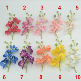 Wholesale Blue Coffee Table - Wholesale-Mini 17cm Artificial Silk Butterfly Orchid Flowers Bouquet With Peduncle Living Room Coffee Dining Table Arrangements Flower