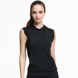 Wholesale Hooded Tops For Women - Wholesale Fashion Women Fitness Hooded Vests Sleeveless Quick Dry Vest Yoga Clothes Pocket Sports Blouse For Running Training Female Black C