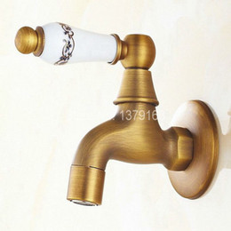 Wholesale Antique Wall Faucets - Wholesale- Vintage Antique Bronze One Ceramic Flower Pattern Handle Kitchen faucet wall mounted Laundry bathroom Mop Water Tap aav134