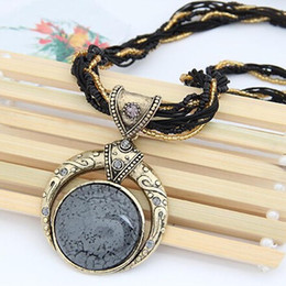 Wholesale popular grains - Vintage Necklace Jewelry Fashion Popular Retro Bohemia Style Multilayer Beads Chain Crystal Grain Pendant Necklace for women