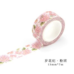 Wholesale Wholesalers For Wrapping Paper - Wholesale- 2016 Pink Paper Flowers for Scrapbooking Christmas Decorations Gift Wrapping Paper Decorative Scotch Washi Fita Adesiva Masking