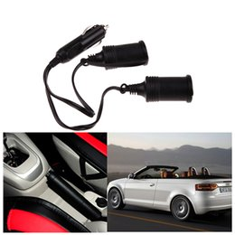 Wholesale Extension Cord Lighter - Wholesale-12V Car Cigarette Lighter Extension Cable Socket Cord 2-Way Double Plug H1E1 E#A