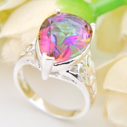Wholesale Mystic Rainbow Rings - New Arrival Statement Rings For Women Gorgeous Rainbow Charm Mystic Topaz Rings 2pcs