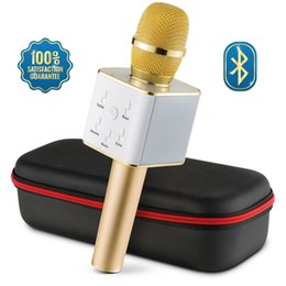 Wholesale Professional Mobile - Professional Karaoke Recording Microphones Q7 Q9 Bluetooth Wireless Karaoke Condenser USB Mic Microfone For Mobile Podcast KTV Livestream