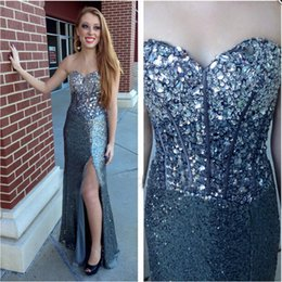 Wholesale Sweetheart Sequined Bodice - Shiny Sequined Evening Dresses Side Split Sweetheart Beaded Crystals Sleeveless with Fishbone on Bodice Prom Party Gowns