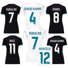 Wholesale Grey Women Football Jerseys - WOMEN REAL MADRID 17 18 RONALDO BENZEMA BALE JAMES SERGIO RAMOS BENZEMA CAMISETAS FUTBOL soccer jersey thailand quality football shirts