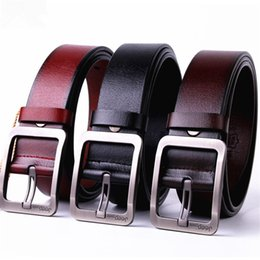 Wholesale Girls Strap Jeans - new cowhide genuine leather belts for men brand Strap male pin buckle fancy vintage jeans cintos freeshipping