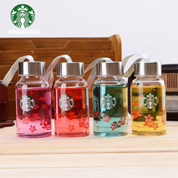 Wholesale Coffee Water Glass - 2017new 180ml starbucks famous coffee brand logo water thermos cup glass my bottle portable cups for lovers children mug