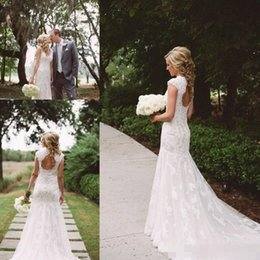 Wholesale Romantic Country Style - 2017 Country Style Wedding Dresses Mermaid V-Neck Backless Sweep Train Lace and Applique Romantic Bridal Gowns Dress Vestido De Noiva