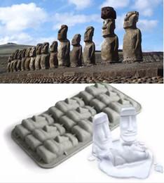 Stampi per pietre online-Moai Stone Statues Ice Cream Mould Summer Mini Silicone Ice Tray Divertente FAI DA TE Cubetti di ghiaccio Stampo