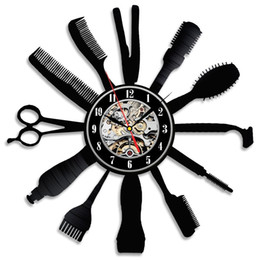 Wholesale Beauty Barber Salon - Creative Gift Idea for Barber Hair Beauty Salon Vinyl Wall Clock Hairdresser Barber Shop Art Decor Clock Decor Gift Preferred