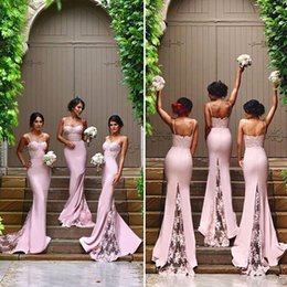 Wholesale Sequin Party Dresses Feathers - 2017 Mermaid Sweet Pink Bridesmaid Dresses Long Spaghetti Straps Open Back Lace Appliques Sweep Train Bridal Wedding Party Dresses