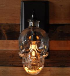 Wholesale Skull Knobs - Creative Skull Heads Wall Lamp Individuality Iron Art Wall Lamp European Style Bedside Bedroom Living Room Loft Iron Wall Light LLFA