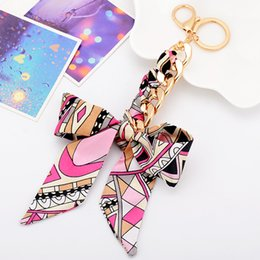 Wholesale Women Scarf Metal Pendant - Fashion Accessories Scarves Key holder Bowknot Exquisite Decoration Tassels Keychains Women Bag Charm Keychains Jewelry Pendant