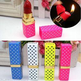 Wholesale Cigarette Lighter Lipstick - Colorful Portable Butane Flame Gas Point Lipstick Shape Model Cigarette Lighter