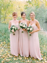 Wholesale Simple Pale Pink Dresses - Pale Pink Long Country Bridesmaid Dresses Spaghetti Straps A-Line Cheap 2017 Plus Size Wedding Party Dress Maid of Honor Gowns Sexy Simple