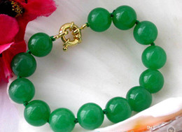 Wholesale Green Jade Bangle Gold Bracelet - HOT NATURE ROUND GREEN JADE BEAD BRACELET BANGLE 12MM 7.5''