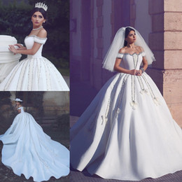 Wholesale Cathedral Train Taffeta Wedding Dress - Vintage Beading Ball Gown Wedding Dresses Said Mhamad Off Shoulder Neckine Crystals Cathedral Train Rhinestones Bridal Gowns