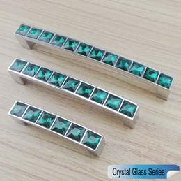 Wholesale Green Door Knobs - Crystal Glass Series Diamond Peacock Green Furniture Handle Door Dresser Drawer Wardrobe Kitchen Cabinets Cupboard Dresser Pull Door Knobs