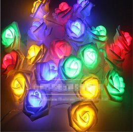 Wholesale Flowers Batteries Lights - 20LED White Rose Flower Fairy String Lights 7.5 Feet Battery Powered For Valentine's Wedding Bedroom Party