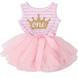 Atacado-Toddler Girl Clothes Bebê Frock Designs Cotton Stripe Baby Girl Tutu Vestidos De Aniversário Para Infantil Baptism Dress Casual Wear de