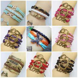 Wholesale Womens Woven Bracelets - Wholesale-Hot 2015 Womens Fashion Bangles Vintage Heart Butterfly Bird Bracelet Multilayer Woven Leather Bracelets Wholesale Jewelry Gift