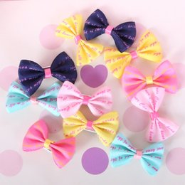 Wholesale Wholesale Small Spring Clips - Cute Xmas Halloween Party Cloth Pet Dog Hair Clips Small Bowknot Grooming Topknot Bows Puppy Cat Hair Accessories