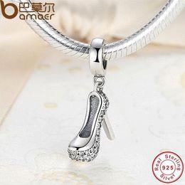 Wholesale Horn Shaped Pendants - Romantic 925 Pure Silver heels Shape Sparkling Shoe Stiletto Clear CZ Charm Fit Bracelet with Cubic Zirconia PAS016