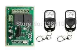 Wholesale Mini Remote Receiver Transmitter - Wholesale- Radio Remote Control Switch DC12v Mini Receiver 2* Metal Push Button Transmitter Learning Code 315 433 Momentary Toggle Latched
