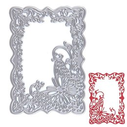 Wholesale frames papers - Butterfly Frame Metal Cutting Dies Stencil DIY Scrapbooking Album Paper Card Embossing Craft Gift