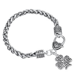 Wholesale Lucky Leaf Clover Bracelets - Fashion Four Leaf Clover Brand Religious Charm Symbol Happiness Lucky Heart Lobster Clasp Pendant Zinc Alloy Thick Wheat Chain Bracelet