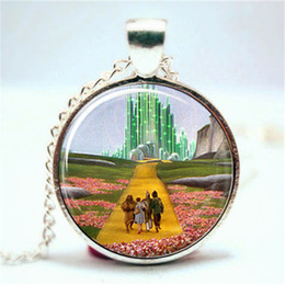 Wholesale Silver Emerald Pendants - 10pcs lot Wizard of Oz Necklace- Emerald City Necklace Glass Photo Cabochon Necklace