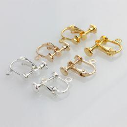 Wholesale Ear Clips Hole - Japan and South Korea fashion accessories accessories copper elastic adjustment screw ear clip female no ear hole diy handmade earrings