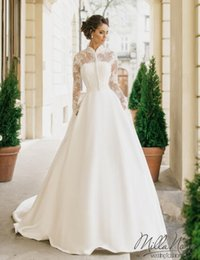 Wholesale China Wedding Dress High Neck - Vintage High Neck Long Sleeve Wedding Dresses 2017 Vestido De Noiva Ivory Satin Appliques China Cheap Merry Beach Garden Bridal Gowns