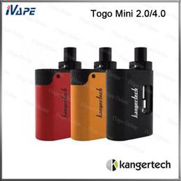 Wholesale Design Glass Cup - 100% Original Kanger Togo Mini Starter Kit 1600mah 2ml 4ml Available With Symmetrical Air Flow Slim AIO Design Leak Resistant Top Fill Cup