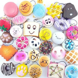 Wholesale Donut Cake - 30pcs Lot Donut Bread Emoji Cake Panda Rabbit Cat Squishy Toys Slow Rising Phone Charms Straps Scented Jumbo Squeeze Toys with Lanyard