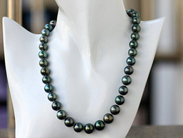 Canada Perles fines Bijoux Noir Tahitien 10-12mm Positif Cercle Minimal Ultime Gloss Bleu Paon Vert Perle Collier Sud 19inches 925silver supplier positive jewelry Offre