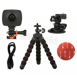 Wholesale Rf Roller - Cheap 360 Degree Panoramic Action camera Dual Fisheye Lens Wifi 1080P FHD 5MP 60 degree VR camera RF remote Controller Panorama cam