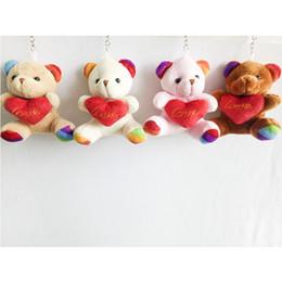 Wholesale Teddy Bears Keychain - 9cm Teddy Bear with Love Heart Cartoon Stuffed Toy Plush Toy Pendant Bag Keychain Car Key Holder for Bag Wedding Christmas Gift