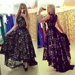Wholesale Ivory Short Front Long Back - 2017 sexy plus size zuhair murad short front long back long lace black arabic evening dress prom gowns