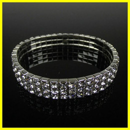 silver rounded bangle bracelet Promo Codes - Free Ship 15006 3 Row Stretch Bangle Silver Rhinestones Cute Prom Homecoming Wedding Party Evening Jewelry Bracelet Bridal Accessories 15006