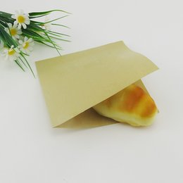 "Wholesale Sandwich Bags Wholesale - 100Pcs Lot 18*18cm 7.08""x7.08"" Open Top Kraft Paper Oilproof Pouch For Baking Sandwich Pack Anti-Oil Kraft Paper Package Bags"