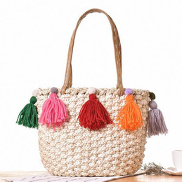 Wholesale Handbags Colorful Patchwork - sales branded bag Korean version of new colorful summer vacation travel bag tassel straw woven handbag fringed fashion Straw Beach Bags