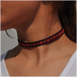 Wholesale Collar Necklace Cheap - Multi-Colors Cheap Fashion Embroidery Tattoo Chokers Collar Necklace Charm popular Pendants Necklaces for Women Chokers Jewelry Gifts 2017