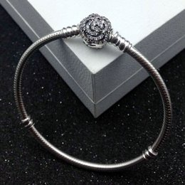 Wholesale Rose European Beads - New 925 Sterling Silver Bangle Limited Edition Beauty with Belle's Enchanted Rose Clasp Bracelet Bangle Fit Pandora Women Bead Charm Jewelry