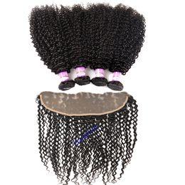Paquetes de pelo rizado rizado mongol con cierre frontal de encaje Cabello humano virgen brasileño 3 paquetes con cierre frontal de oreja a oreja 13x4 desde fabricantes