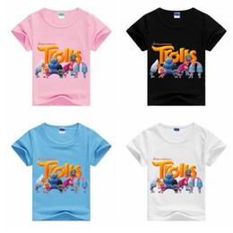 Wholesale Shrit Girls - New 2017 Boys Girls Trolls T shrit Kids 100% Cotton T-shirts Short sleeve Children Boys Tops Sports Tee Shirts Summer Clothing